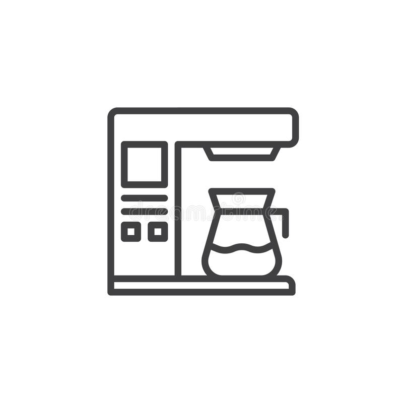 Coffee maker machine line icon. Outline vector sign, linear style pictogram isolated on white. Symbol, logo illustration. Editable stroke vector illustration