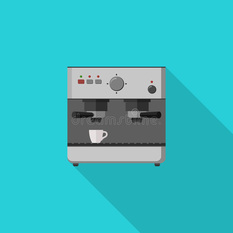 Coffee maker. Coffee machine with long shadow. Flat illustration of coffee maker royalty free illustration