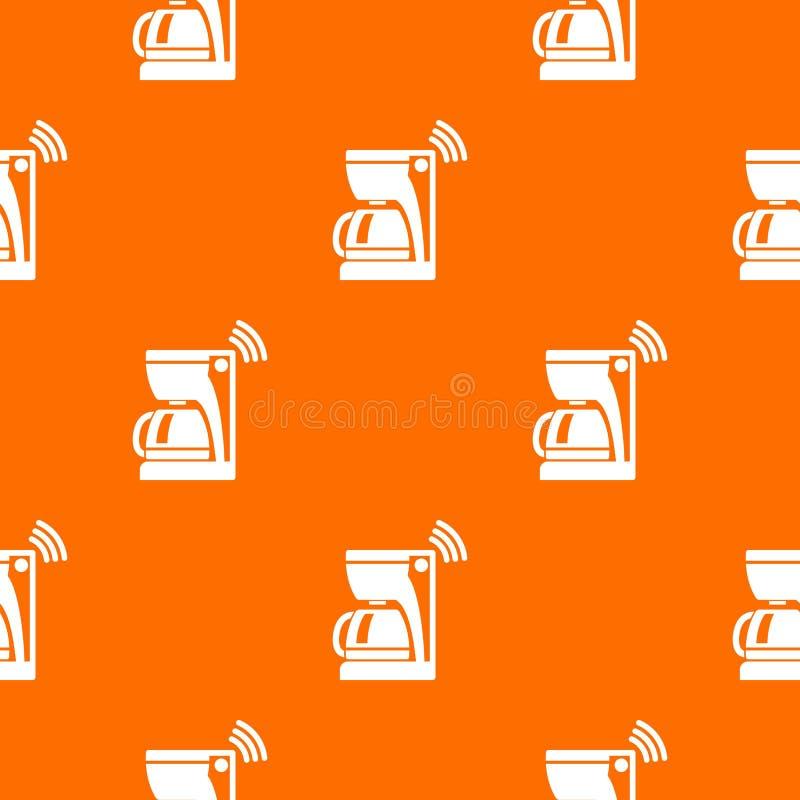 Coffee maker pattern vector orange. For any web design best royalty free illustration
