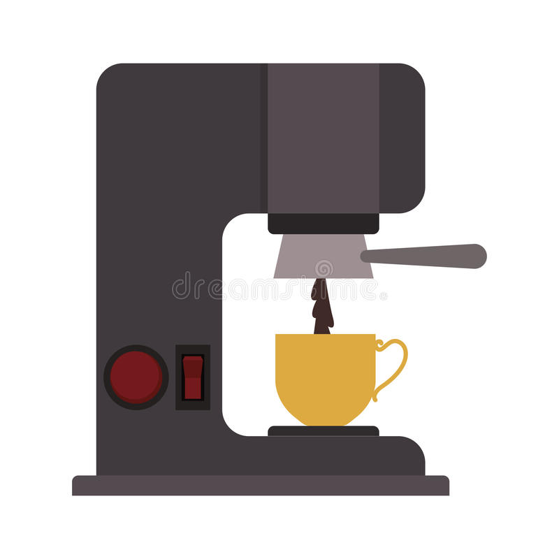 Coffee maker with porcelain cup. Vector illustration stock illustration