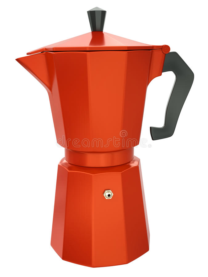 Coffee maker. Red coffee maker isolated on white background. 3D render stock illustration