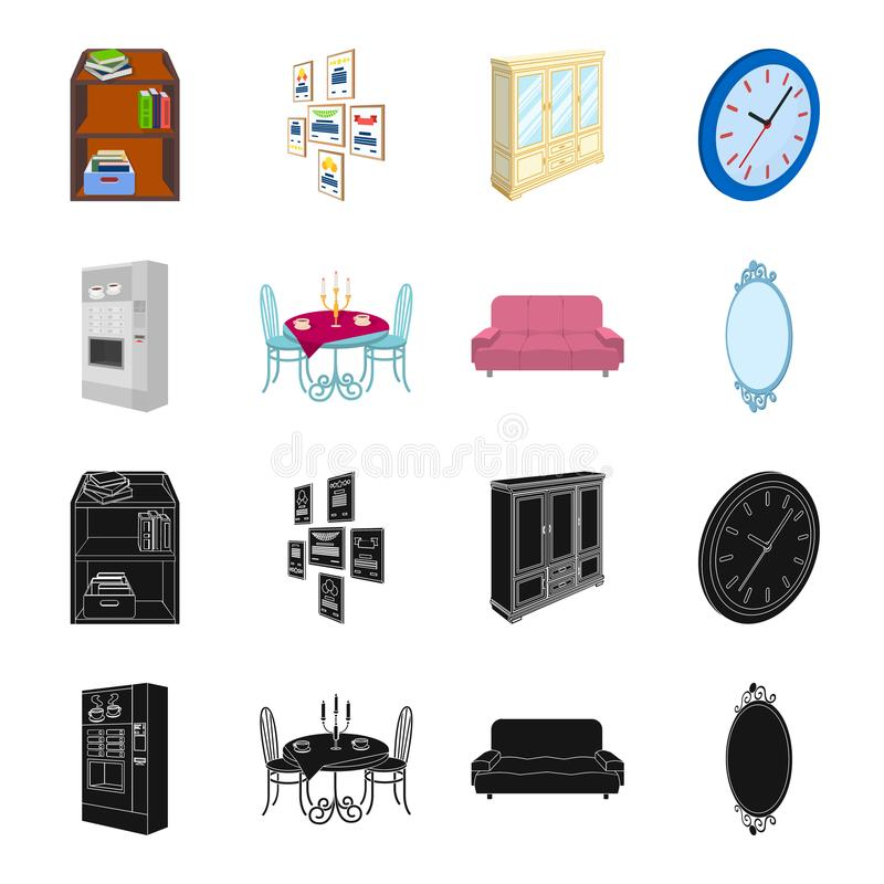 Coffee maker, served table in the restaurant and other web icon in black,cartoon style isometric.Soft comfortable sofa. Coffee maker, served table in the vector illustration