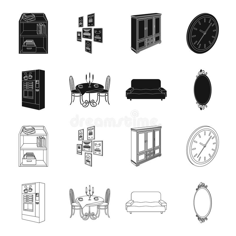 Coffee maker, served table in the restaurant and other web icon in black,outline style isometric.Soft comfortable sofa. Coffee maker, served table in the vector illustration