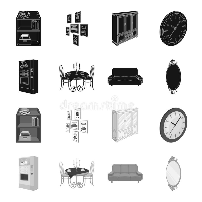 Coffee maker, served table in the restaurant and other web icon in black,monochrome style isometric.Soft comfortable. Coffee maker, served table in the vector illustration