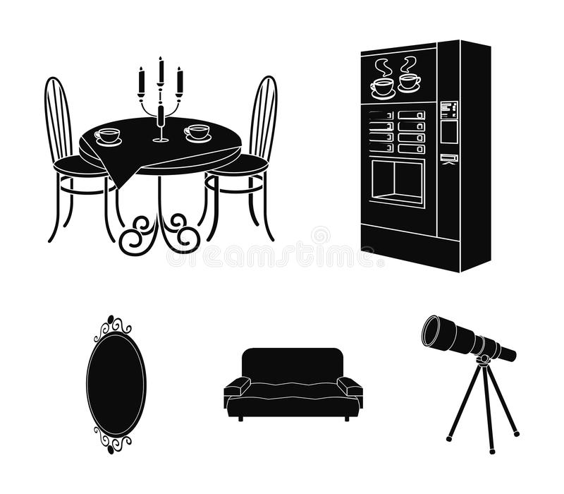 Coffee maker, served table in the restaurant and other web icon in black style isometric.Soft comfortable sofa, wall. Coffee maker, served table in the vector illustration