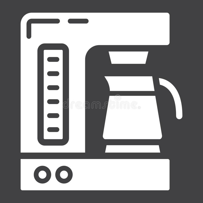Coffee maker solid icon, kitchen and appliance. Vector graphics, a glyph pattern on black background, eps 10 royalty free illustration