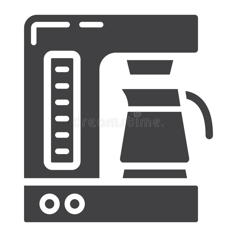 Coffee maker solid icon, kitchen and appliance. Vector graphics, a glyph pattern on a white background, eps 10 royalty free illustration