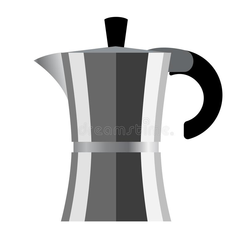 Coffee maker. Vector illustration. Geyser coffee maker on white background. Vector illustration stock illustration