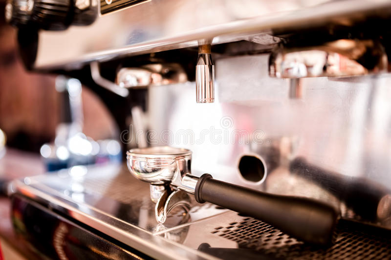Coffee making accessories and tools. Such as Tamper and espresso machine royalty free stock photos
