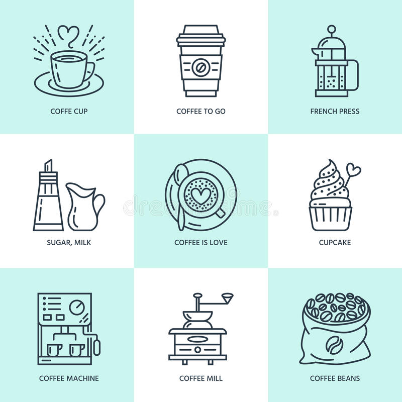 Coffee making, brewing equipment vector line icons. Elements - coffeemaker, french press, grinder, espresso, cup, beans royalty free illustration