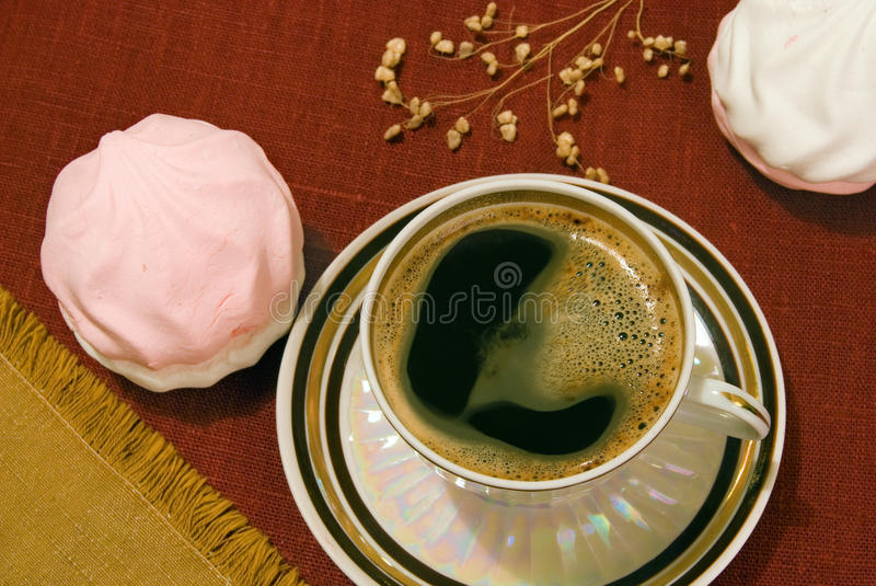 Download Coffee and marshmallows stock photo. Image of saucer - 17173618