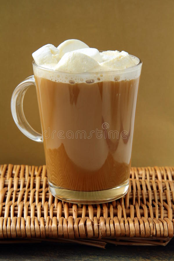 Coffee With Marshmallows In Large Glass Beaker Royalty Free Stock Photography