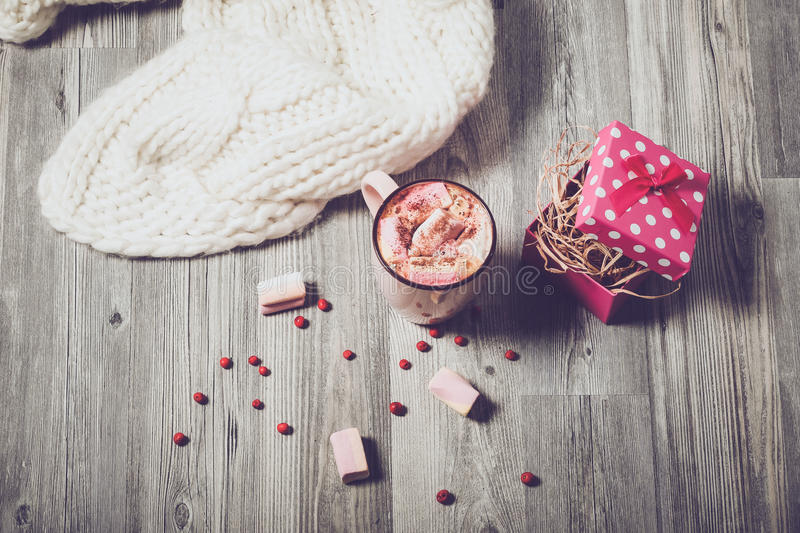 Coffee marshmallows and present