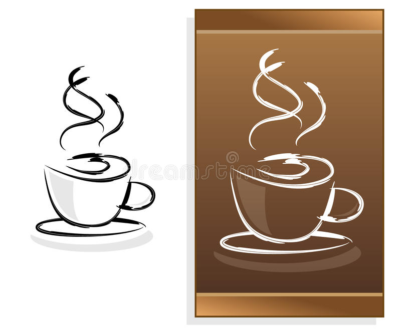 Coffee menu with abstract logo. Menu design with abstract coffee logo against white background stock illustration