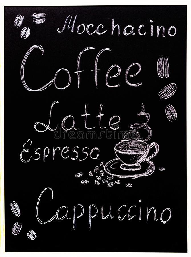 Coffee menu on black background, vintage style stylized drawning with chalk on blackboard. stock illustration