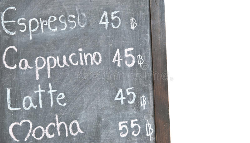 Coffee menu on blackboard. With white background royalty free stock photography