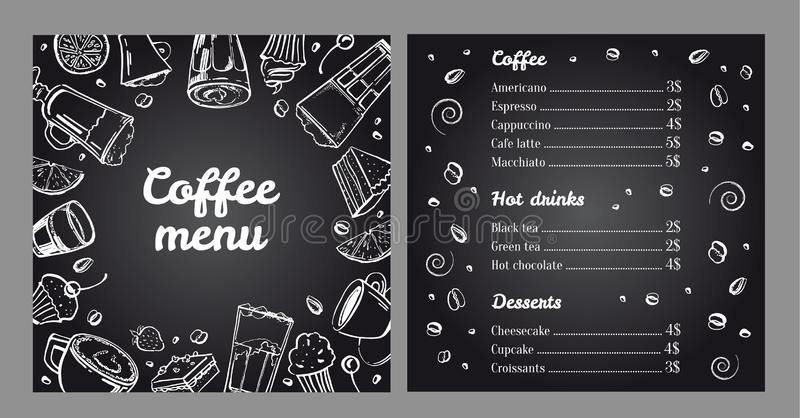 Coffee menu design template. Cover and list of hot drinks and desserts. Vector outline monochrome hand drawn illustration. On blackboard background royalty free illustration