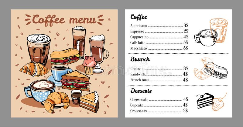 Coffee menu design template with list of coffee drinks, food and desserts. Cover with colorful mugs, sandwiches and cakes stock illustration