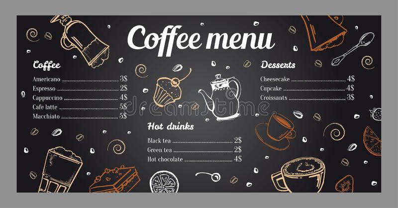Coffee menu design template with list of hot drinks and desserts on blackboard background. Coffee menu design template with list of hot drinks and desserts stock illustration