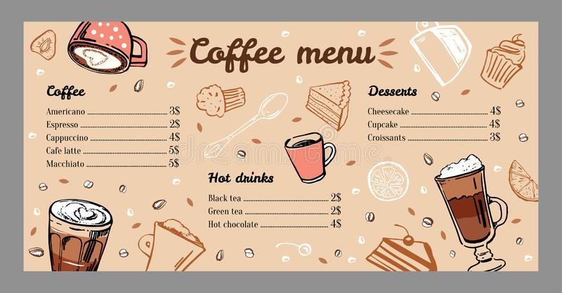 Coffee menu design template with list of hot drinks and desserts. Colorful vector outline vintage hand drawn illustration royalty free illustration