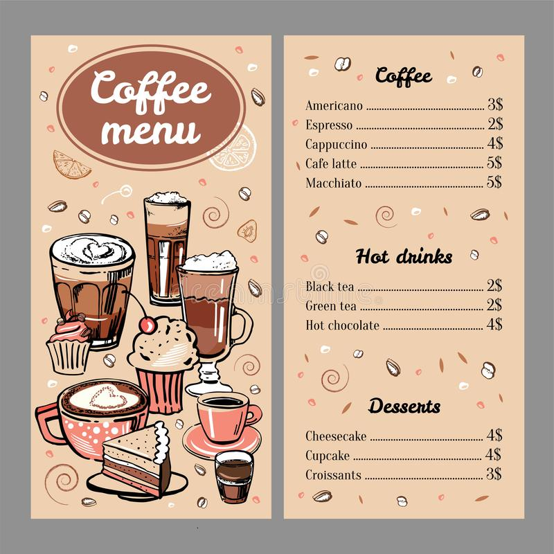 Coffee menu design template with list of hot drinks and desserts. Cover with colorful mugs and cakes. Vector outline colorful hand drawn illustration on brown stock illustration