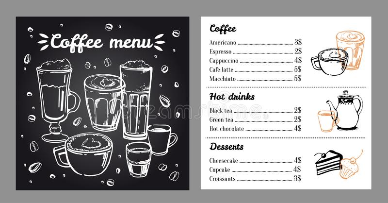 Coffee menu design template with list of hot drinks and desserts. Vector outline hand drawn illustration. With blackboard background vector illustration