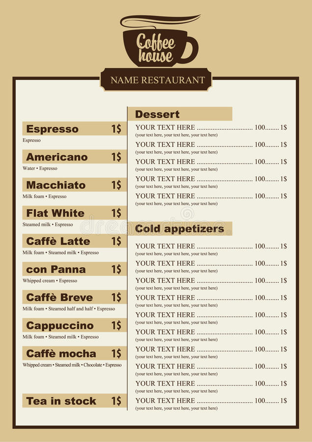 Coffee Menu Stock Vector Illustration Of Sign Shop