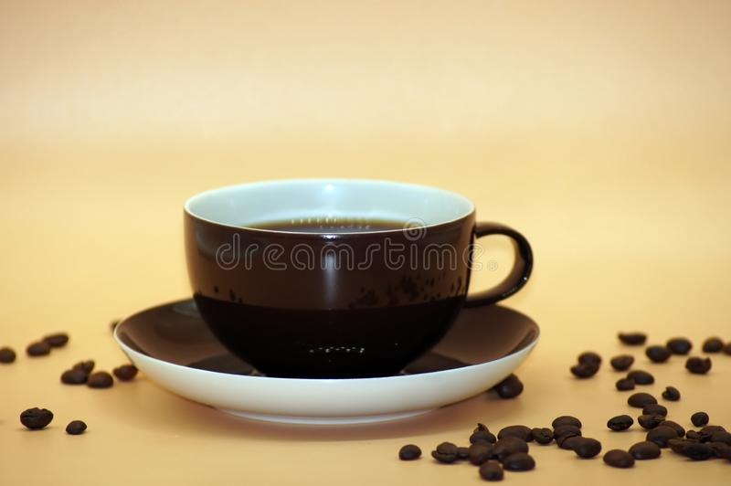 Coffee with milk freed on neutral background. Close UP royalty free stock photography