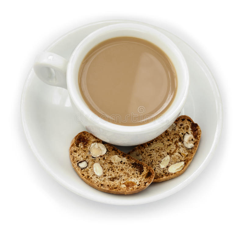 Coffee Cup & Biscotti Royalty Free Stock Photography