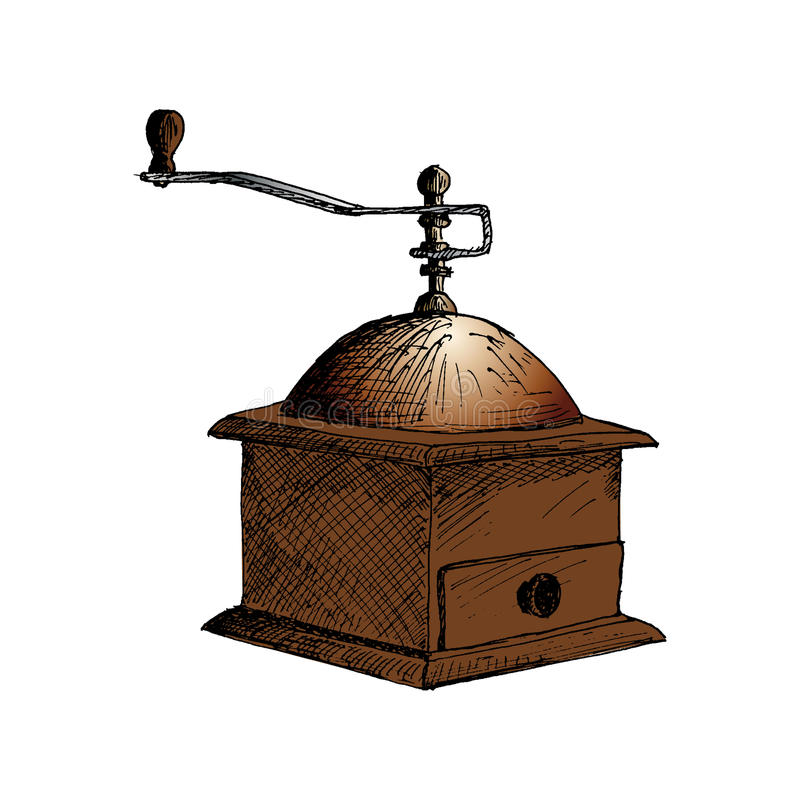 Coffee mill. coffee grinder Hand Drawn Sketch Vector illustration. vector illustration