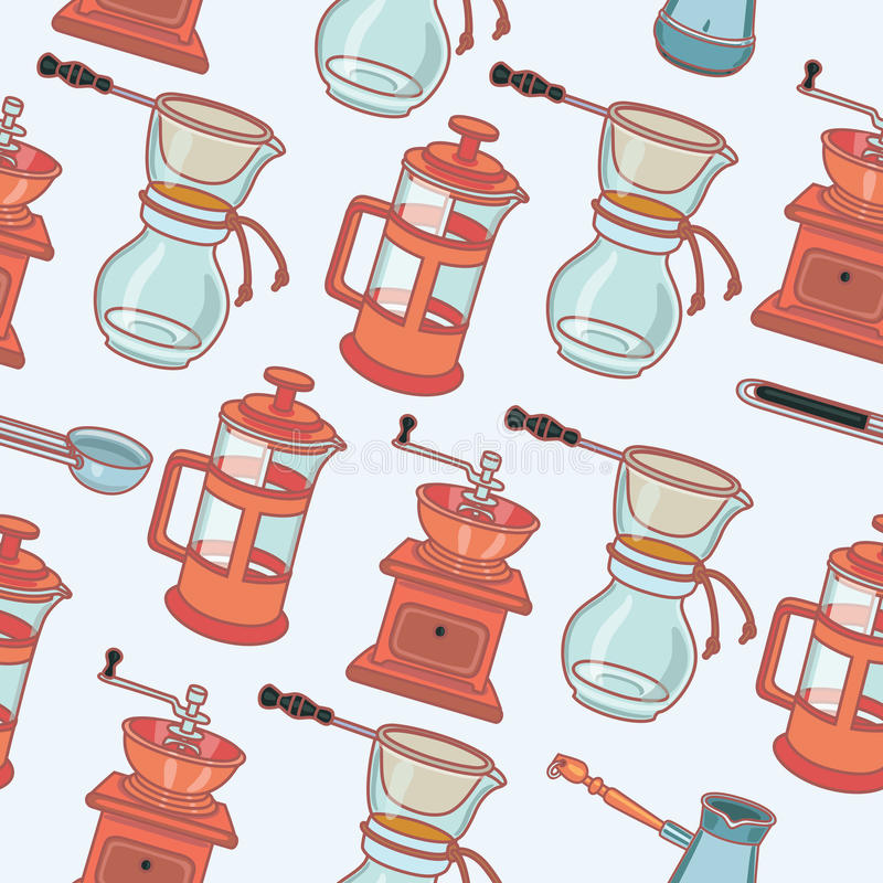 Coffee mill, geyser coffee maker and cup, vector seamless pattern. Ector outline coffee mill, geyser coffee maker and cup, vector seamless pattern vector illustration