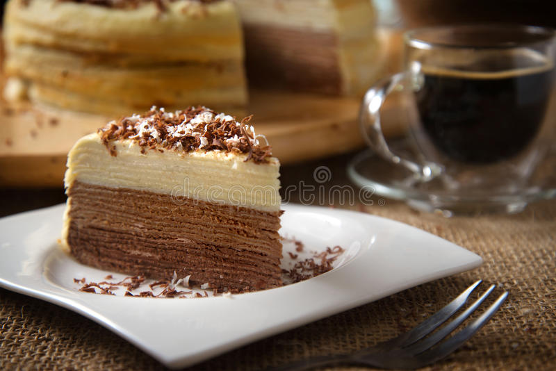 Layered Crepe Cake Recipes: Coffee Mille Crepe Cake Stock Photo