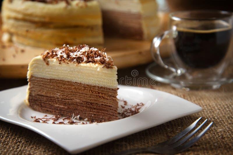 Coffee Mille Crepe Cake stock photo