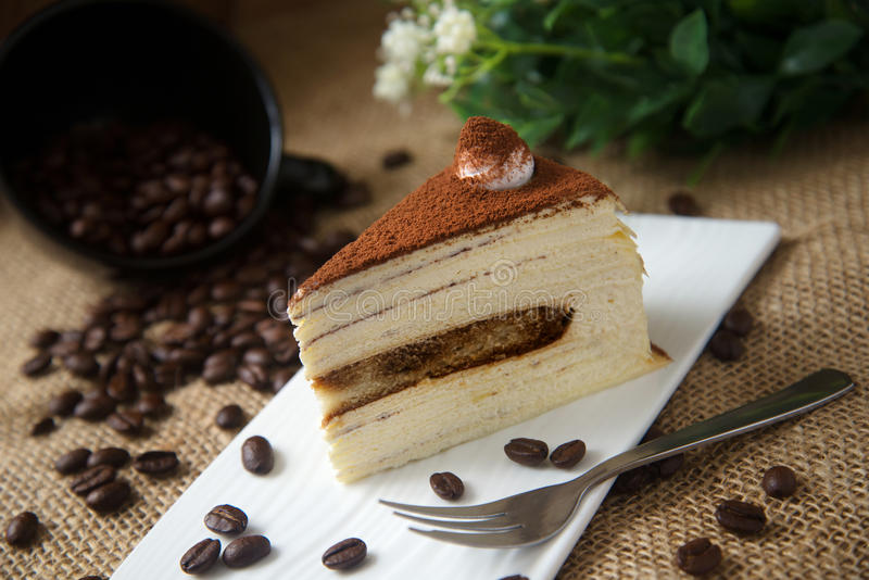Coffee Mille Crepe Cake 2. Coffee mille crepe cake with coffee bean stock photo