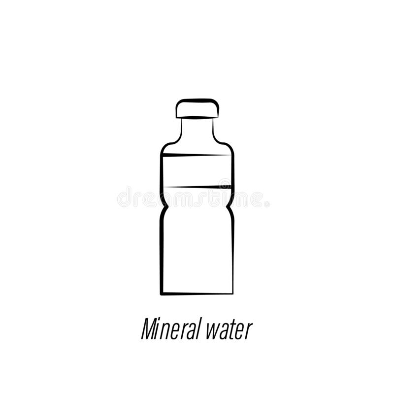 Coffee mineral water hand draw icon. Element of coffee illustration icon. Signs and symbols can be used for web, logo, mobile app royalty free illustration