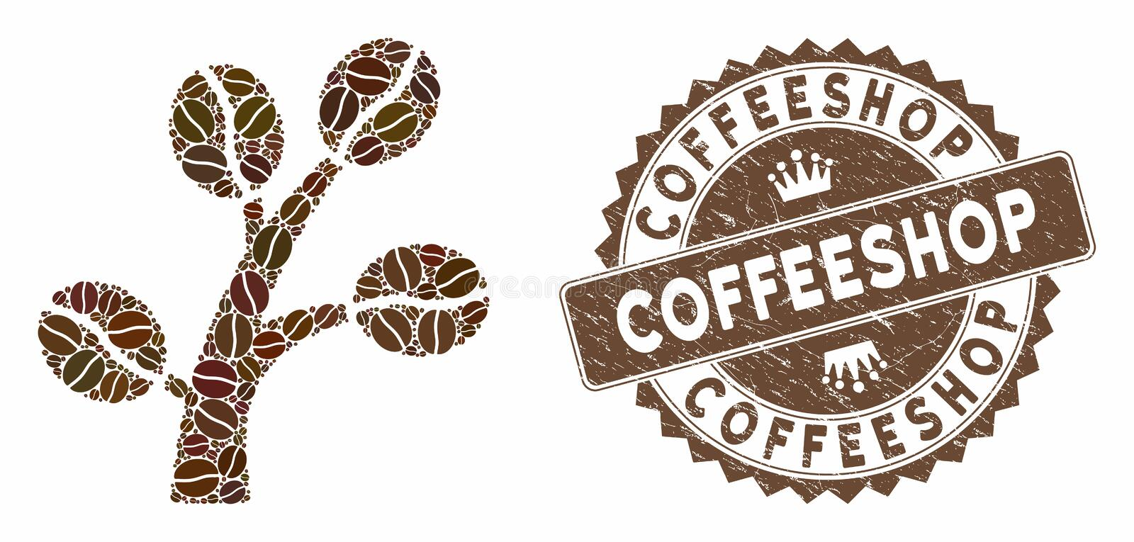 Coffee Mosaic Coffee Tree with Scratched Coffeeshop Stamp. Mosaic coffee tree and distressed stamp seal with Coffeeshop caption. Mosaic vector coffee tree is vector illustration