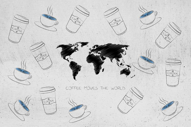 Coffee moves the world caption with map surrounded by cups and t vector illustration