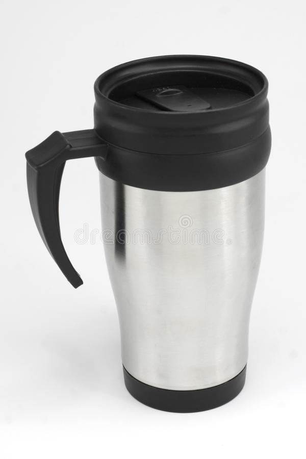 Coffee mug. Stainless Steel Silver Coffee Mug royalty free stock image