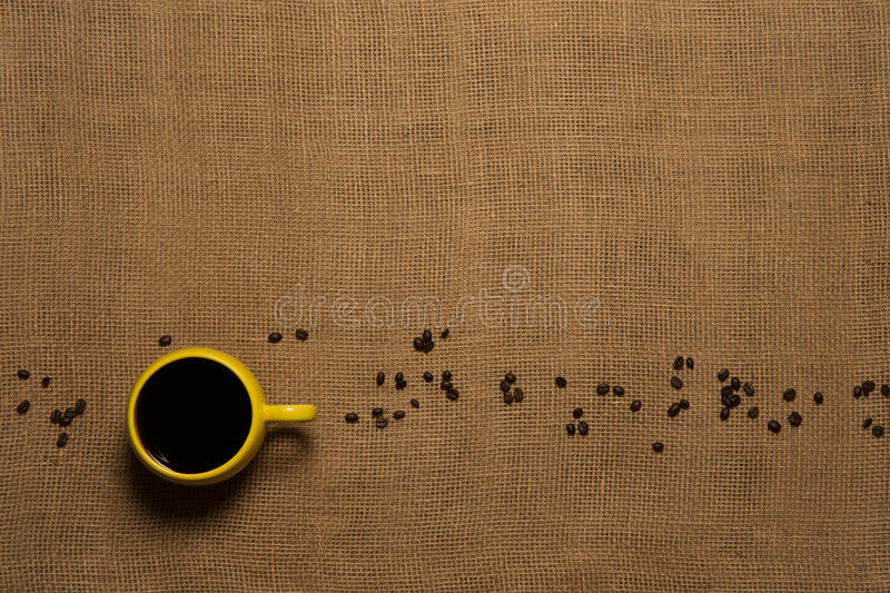 Coffee Mug Background - Top View with Beans royalty free stock images
