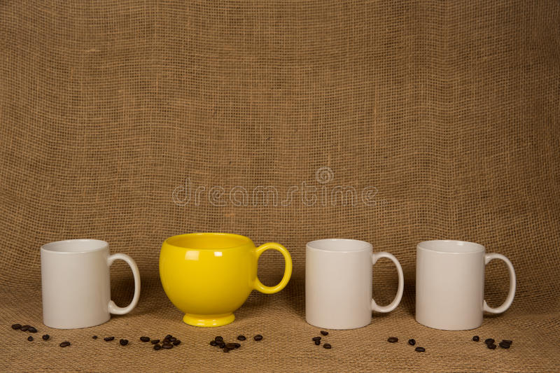 Coffee Mug Background - Unique Mug and Beans royalty free stock image