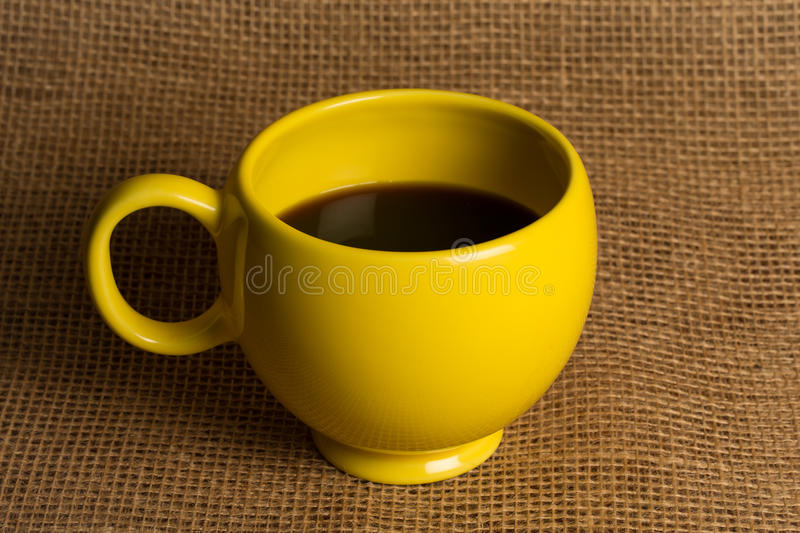 Coffee Mug Closeup - Yellow Mug stock photo