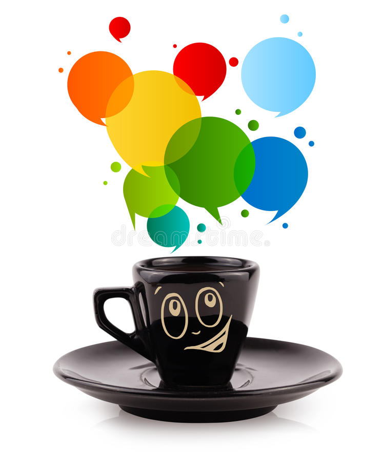 Coffee-mug with colorful abstract speech bubble stock illustration