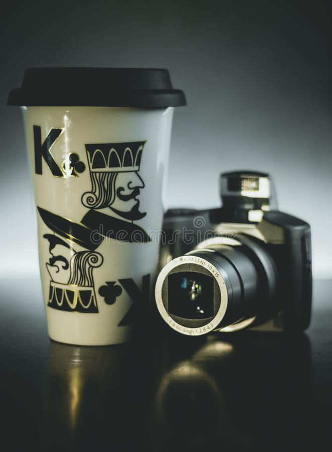 Coffee Mug Digital Camera Light Dark Background stock photo