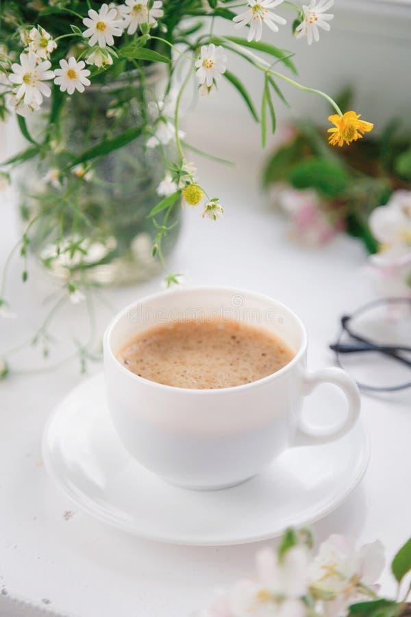 Coffee Mug Blue Flowers Notes Good Morning Stock Images ...