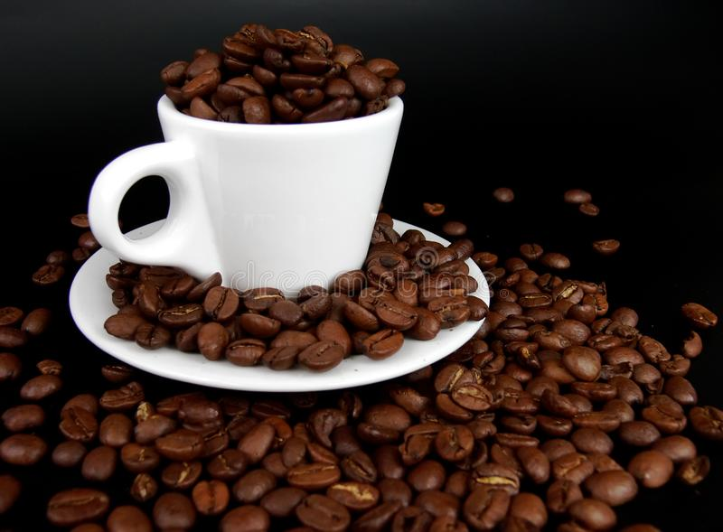 A coffee mug full of coffee beans royalty free stock images