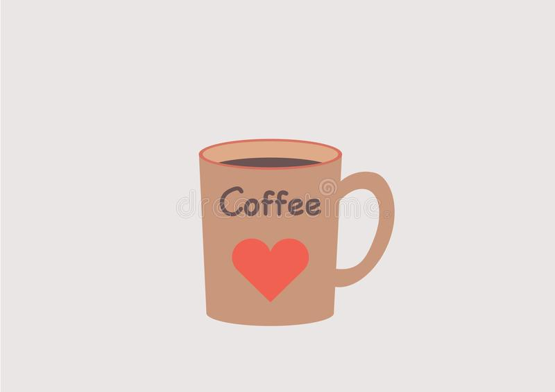 Coffee mug with a red heart and coffee text. Love a coffee break. stock photo