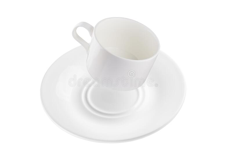 Coffee mug and saucer in the air at an angle. Full depth of field. Isolated with a pen tool stock photo