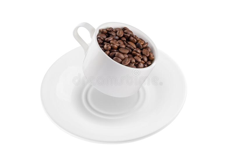 Coffee mug and saucer in the air with coffee beans. Full depth of field. Isolated with a pen tool stock images