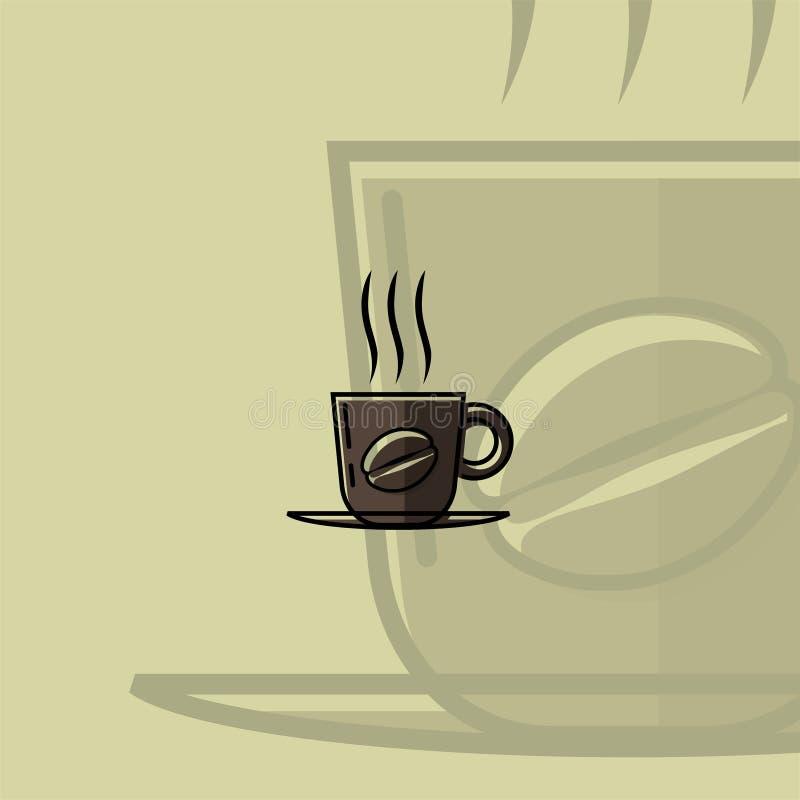 Black Coffee Mug Vector Cartoon. Coffee Mug Vector Cartoon for cafe template or cafe logo with coffee mug backgro stock illustration
