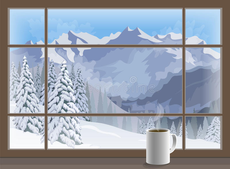Coffee mug on a window sill. winter mountain landscape. Vector. Illustration vector illustration